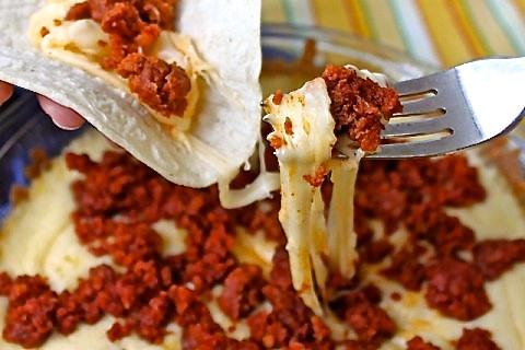 Easy Cheesy Chorizo Dip - Cheesy perfection for a Cinco de Mayo Fiesta or any fiesta!