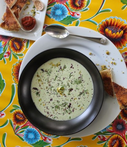 Chilled Pistachio Yogurt Soup - With the delicate flavors of hibiscus, mint and dill. Recipe: http://mamashighstrung.com/?p=7978