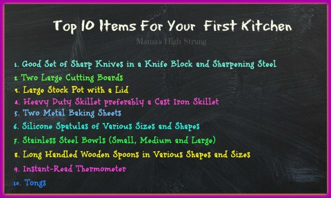 Top 10 Items for Your First Kitchen
