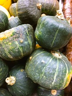 All About Winter Squash: Kabocha - Also known as Japanese pumpkin, the green, almost square-shaped Kabocha is similar to buttercup squash with a nice sweet flavor.