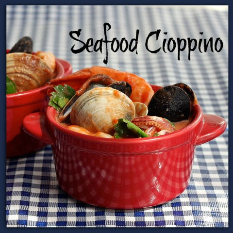 Seafood Cioppino a rich tomato-based stew made with whatever seafood is fresh that day.