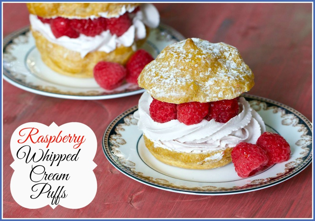 Raspberry Whipped Cream Puffs