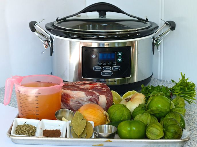 -HB Slow Cooker with Ingredients for Pork Roast with Green Salsa Mama's High Strung
