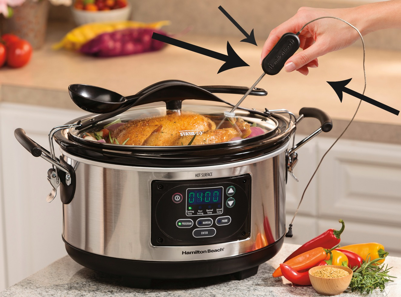 Hamilton Beach Set & Forget 6-quart Programmable Slow Cooker with Spoon and Lid