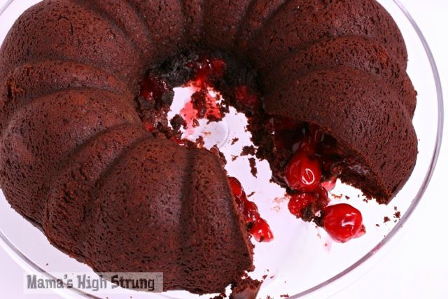 Homemade Chocolate Cherry Bundt Cake-Mama's High Strung