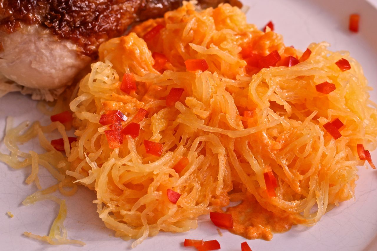 ... Spaghetti Squash with Roasted Red Pepper Alfredo - Mama's High Strung