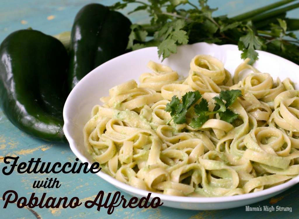 Fettuccine Alfredo Recipe with a twist: Fettuccine Poblano Alfredo. Poblano peppers add a depth of flavor to this Alfredo sauce and help thicken it.