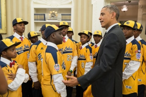 Obama with the Jackie Robinson West Little League Team