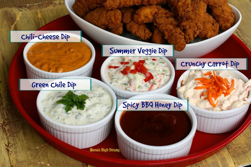5 Delicious Dips... perfect for whatever you have on the table: chips, chicken strips, veggies, fruit...