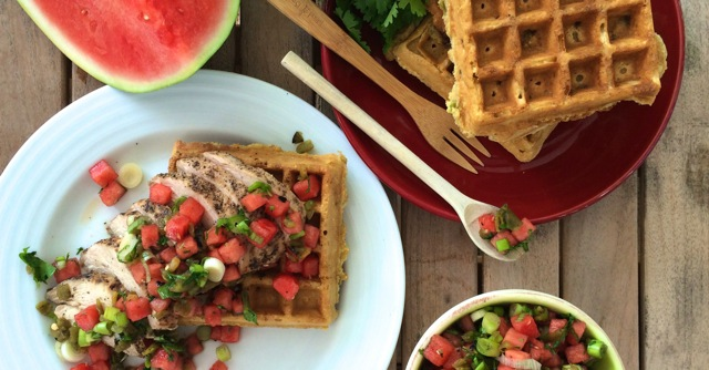 Hatch Chile Cornbread Waffles
