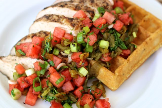 Hatch Chile Cornbread Waffles with Watermelon & Hatch Chile Salsa